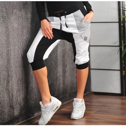 Dámská kolekce - NDN - Dámske 3/4 pudlové kalhoty LEONA (černo-šedé)