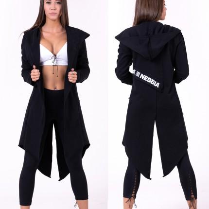 Dámská kolekce - NEBBIA - Prodloužený kabát Be rebel 681 (černá)