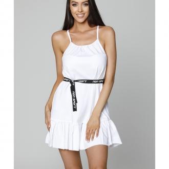 NDN - Dámské šaty s tenkými ramínky LUJZA (bílá)
