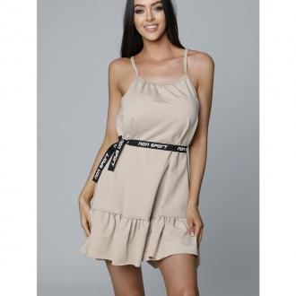 NDN - Dámské šaty s tenkými ramínky LUJZA (capuccino)
