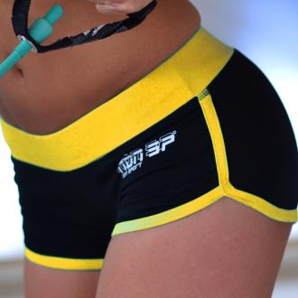 NDN - Dámské fitness kraťasy LEDDI (černo-žlutá)