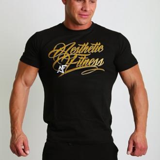 Aesthetic Fitness - Tričko GOLD (černá)