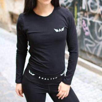Exalted - Dámské fitness triko s dlouhým rukávem X1 (černá)