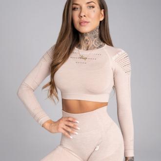 Gym Glamour - Crop top s dlouhým rukávem (beige) GG1188