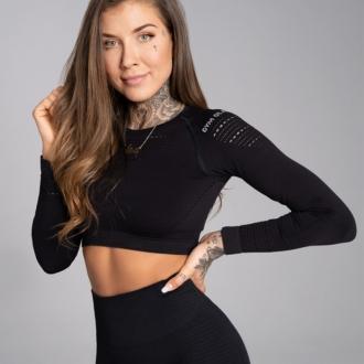 Gym Glamour - Crop top s dlouhým rukávem (black) GG1199