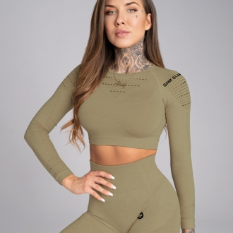 Gym Glamour - Crop top s dlouhým rukávem (combat khaki) SS19-GG1202