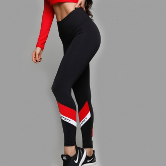 NDN - Fitness legíny dámské GIULIA (černo-červená)
